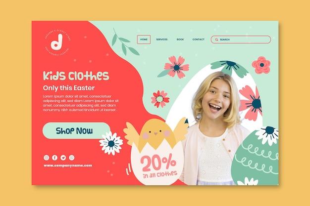 Modèle de page de destination pour la vente de pâques avec une fille souriante