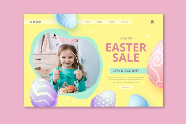 Modèle de page de destination pour la vente de pâques avec petite fille et panier d'oeufs