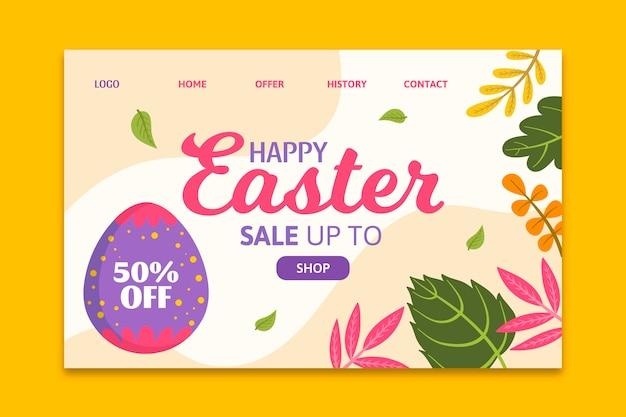 Modèle de page de destination pour la vente de pâques avec salutation