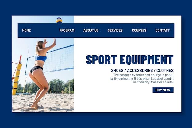 Modèle de page de destination pour le volleyball de plage