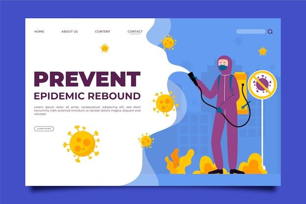 Modèle de page de destination de prévention du rebond épidémique