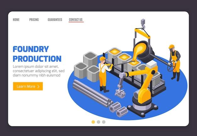 Modèle de page de destination de la production de fonderie