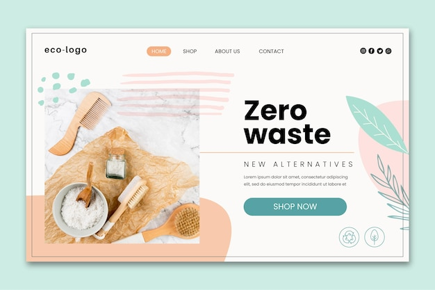 Modèle de page de destination de produits sans plastique sans déchets
