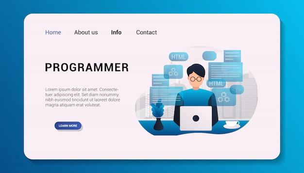 Modèle de page de destination programmeur illustration design plat