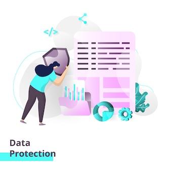 Modèle de page de destination de la protection des données.