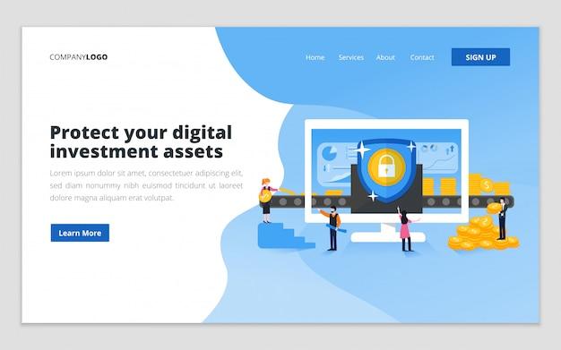 Modèle de page de destination de protection des investissements numériques