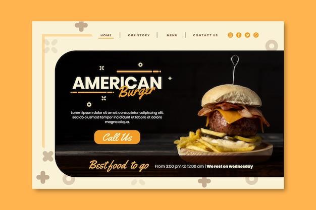 Modèle de page de destination de pub de cuisine américaine