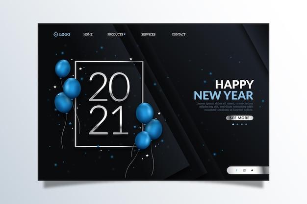 Modèle de page de destination réaliste pour le nouvel an