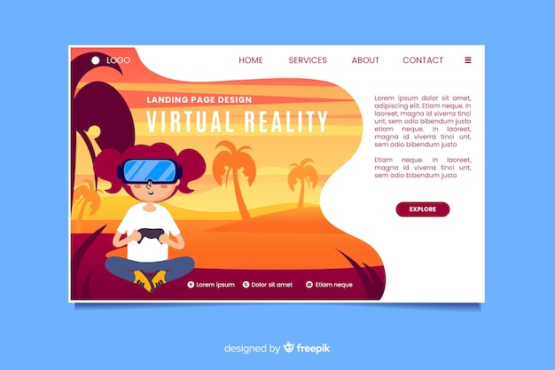 Modèle de page de destination de réalité virtuelle