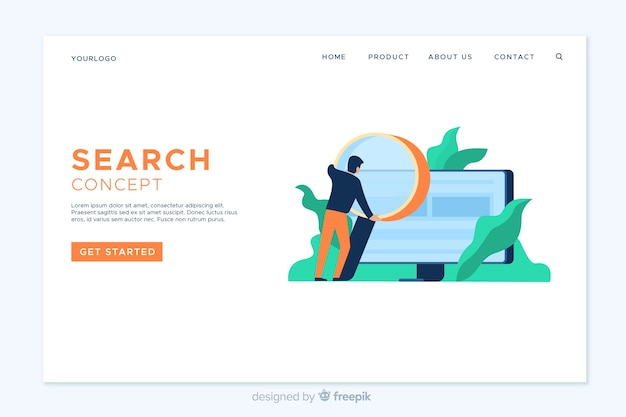 Modèle de page de destination de recherche à plat