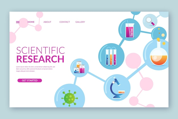 Modèle de page de destination de la recherche scientifique