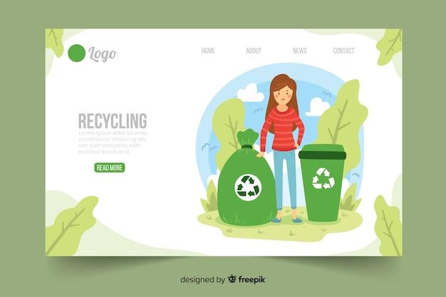 Modèle de page de destination de recyclage à plat