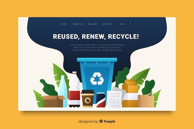 Modèle de page de destination de recyclage