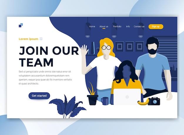 Modèle de page de destination de rejoignez notre équipe