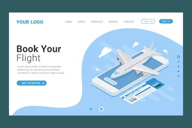 Modèle de page de destination de réservation en ligne de billet d'avion