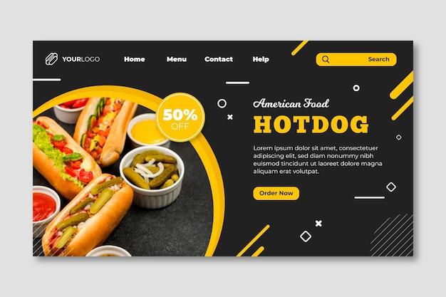 Modèle de page de destination de restaurant de cuisine américaine