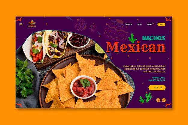 Modèle de page de destination de restaurant de cuisine mexicaine
