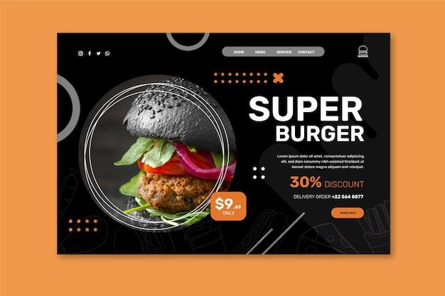 Modèle de page de destination de restaurant de hamburgers
