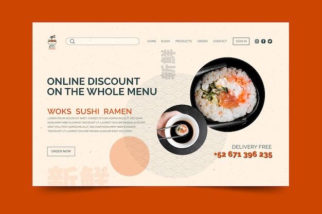 Modèle de page de destination de restaurant japonais
