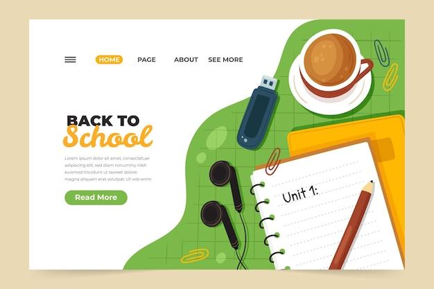 Modèle de page de destination de retour à l'école dessiné à la main