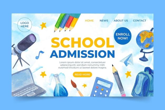 Modèle de page de destination de retour à l'école illustré