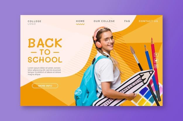 Modèle de page de destination de retour à l'école réaliste avec photo