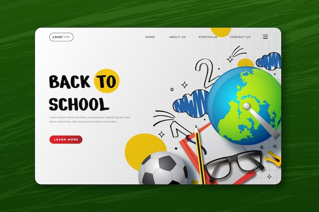 Modèle de page de destination de retour à l'école réaliste