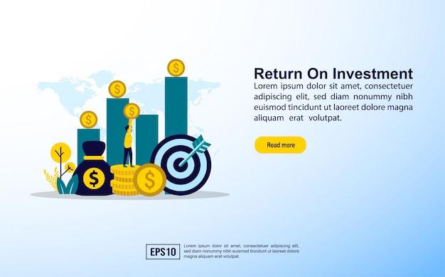 Modèle de page de destination. retour sur investissement