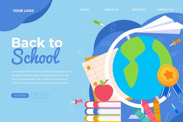 Modèle de page de destination de retour à plat à l'école