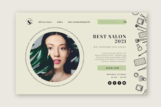 Modèle de page de destination de salon de beauté