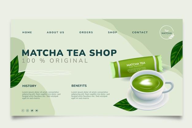 Modèle de page de destination de savoureux thé matcha