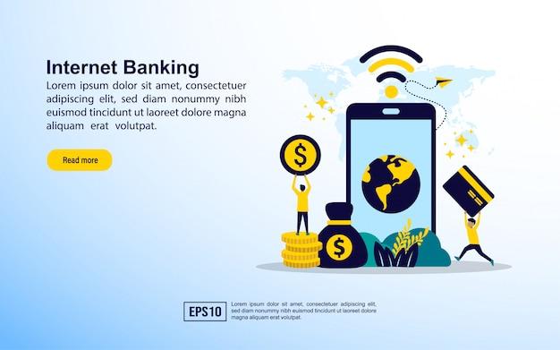 Modèle de page de destination. services bancaires sur internet