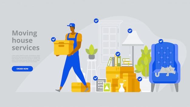 Modèle de page de destination des services de déménagement