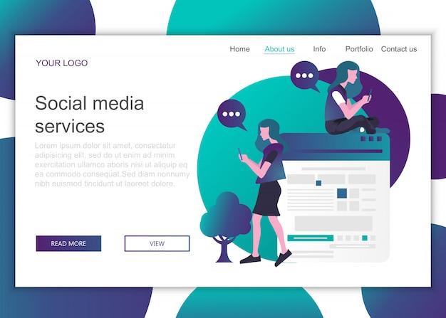 Modèle de page de destination des services de médias sociaux