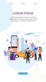 Modèle de page de destination. services de transfert. transport touristique urbain.
