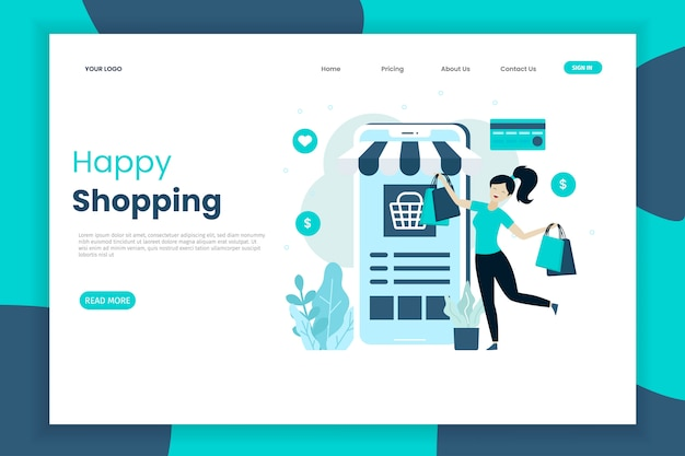 Modèle de page de destination de shopping heureux