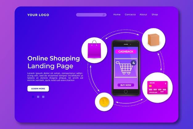 Modèle de page de destination de shopping en ligne réaliste