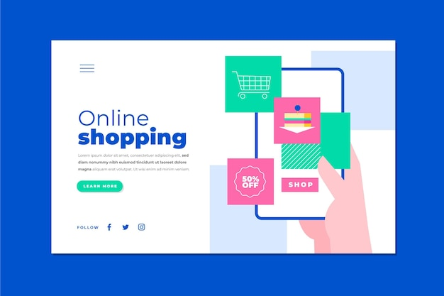 Modèle de page de destination de shopping en ligne
