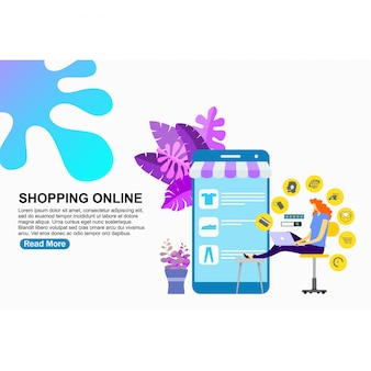 Modèle de page de destination shopping en ligne