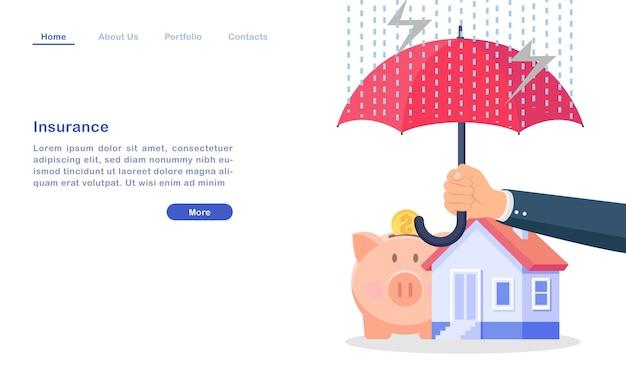 Modèle de page de destination de site web assurance de dessin animé pour le concept de richesse immobilière parapluie maison argent cochon mauvais temps