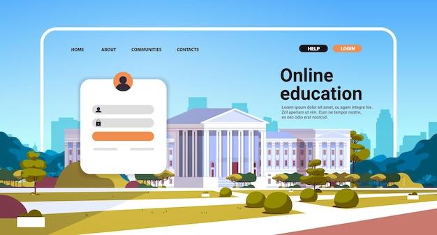 Modèle de page de destination de site web d'éducation en ligne avec concept d'apprentissage en ligne de bâtiment universitaire