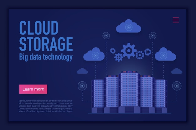 Modèle de page de destination de site web de gestion du stockage en nuage, de calcul, de base de données et de stockage d'informations