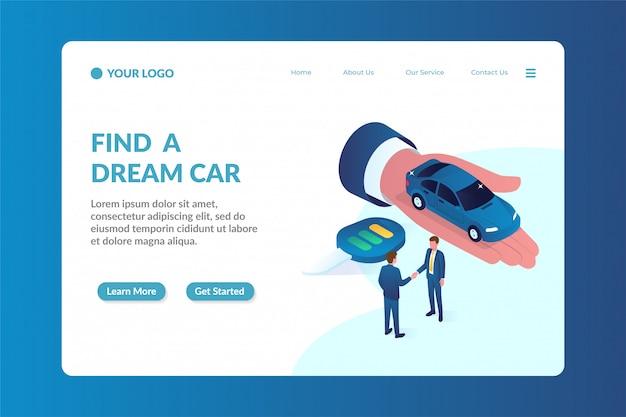 Modèle de page de destination de site web isométrique concessionnaire automobile