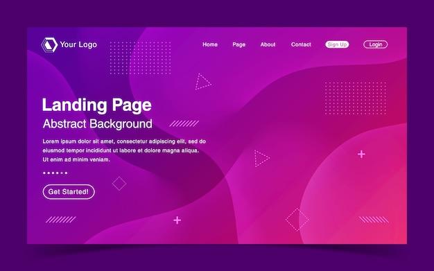 Modèle de page de destination de site web avec un liquide violet