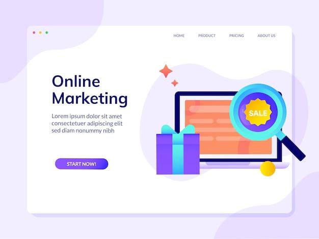 Modèle de page de destination de site web de marketing en ligne