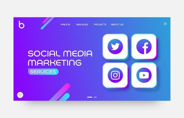 Modèle de page de destination de site web de marketing de médias sociaux