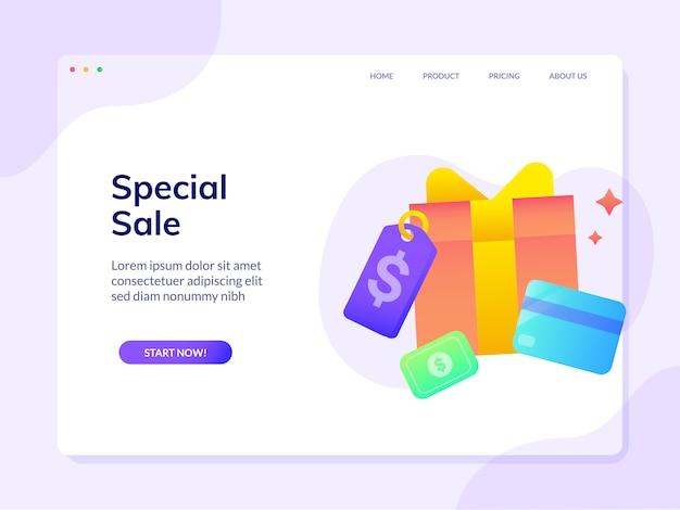 Modèle de page de destination de site web de remise spéciale de vente
