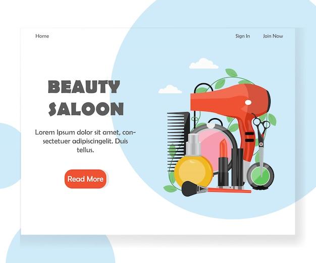 Modèle de page de destination de site web de salon de beauté
