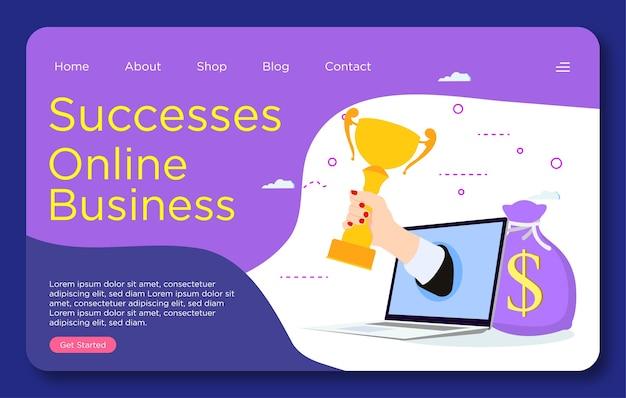 Modèle de page de destination de site web de succès commerciaux en ligne