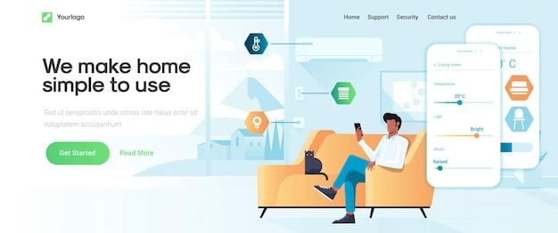 Modèle de page de destination de smart home